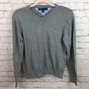 Tommy Hilfiger Gray V-Neck Sweater Size Small P